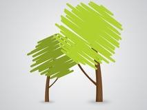 抽象绿色结构树图标 库存照片