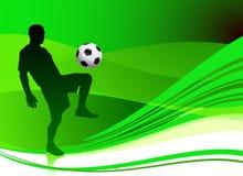 抽象绿色背景的足球运动员 库存图片