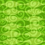 抽象绿色花卉曲线无缝的模式 免版税库存照片