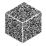 抽象编码多维数据集模式qr 皇族释放例证