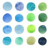 抽象美丽艺术性嫩美妙透明明亮蓝色,绿色,草本,海军,靛蓝,绿松石,深蓝色的圈子 库存例证