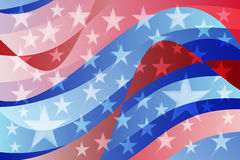 抽象美国国旗波浪背景 免版税库存照片