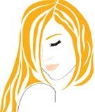 抽象美好的女孩头发红色 免版税库存照片