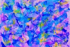 抽象美好的艺术五颜六色的街道画、手拉的油漆飞溅背景,明亮的蓝色和紫色颜色,时髦 免版税库存照片