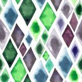 抽象美好的艺术性的嫩美妙的透明鲜绿色的蓝色紫色菱形不同的形状仿造水彩ha 免版税库存照片