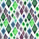 抽象美好的艺术性的嫩美妙的透明鲜绿色的蓝色紫色菱形不同的形状仿造水彩ha 皇族释放例证