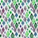 抽象美好的艺术性的嫩美妙的透明鲜绿色的蓝色紫色菱形不同的形状仿造水彩ha 库存例证