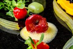 抽象美食术先锋概念分子烹调背景 免版税库存照片