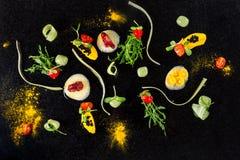 抽象美食术先锋概念分子烹调背景 免版税图库摄影