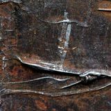 抽象老棕色和银色被绘的丙烯酸酯或油漆构造背景 免版税库存图片