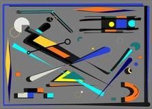 抽象背景、线和几何形状,蓝色,黄色,桔子,在灰色18 107 向量例证