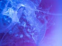 抽象背景上色了 蓝色烟,墨水在水中,宇宙的样式 抽象运动,结冰 免版税库存照片