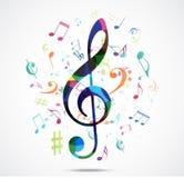 抽象背景五颜六色的音乐笔记 免版税库存照片