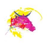 抽象背景五颜六色的水彩 斑点和飞溅 库存照片