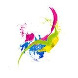 抽象背景五颜六色的水彩 斑点和飞溅 库存图片