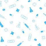 抽象背景健康医学片剂补丁注射器无缝的样式蓝色 免版税库存图片