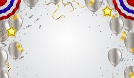 抽象背景党庆祝五彩纸屑框架模板wi 库存例证