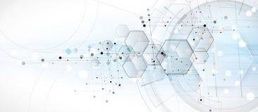 抽象背景六角形 技术多角形设计 Digita 向量例证