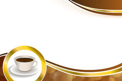 抽象背景咖啡杯褐色金圈子丝带框架例证 库存照片