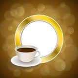 抽象背景咖啡杯褐色金圈子框架例证 图库摄影