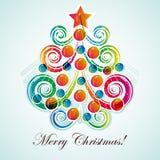 抽象背景圣诞灯结构树 向量例证