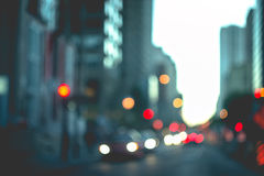 抽象背景在城市,夜生活,夜城市点燃 库存图片
