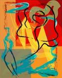 抽象背景构成,与油漆冲程、花和几何图 向量例证