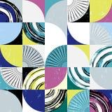 抽象背景样式,与圈子,正方形,冲程和 免版税库存图片