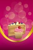 抽象背景桃红色黄色点心蛋糕蓝莓莓樱桃杯形蛋糕松饼提取乳脂垂直的框架例证 库存图片