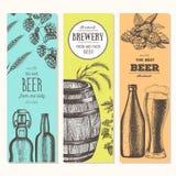 抽象背景横幅集合向量 在剪影样式的传染媒介例证 手拉的啤酒垂直横幅 线描 免版税库存图片