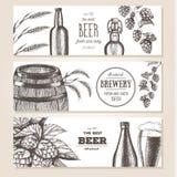 抽象背景横幅集合向量 在剪影样式的传染媒介例证 手拉的啤酒水平的横幅 线描 免版税图库摄影