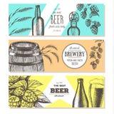 抽象背景横幅集合向量 在剪影样式的传染媒介例证 手拉的啤酒水平的横幅 线描 免版税库存照片