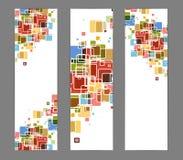 抽象背景横幅颜色多维数据集 免版税库存图片