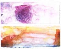 抽象背景橙色紫色水彩 免版税库存图片