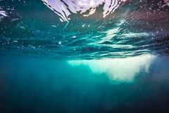抽象背景水 蓝色海和飞溅水概念 免版税库存图片