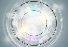 抽象背景环形 与轻的圈子和火花光线影响的金属镀铬物亮光圆的框架 传染媒介闪耀的发光 库存例证