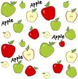 抽象背景用红色和绿色苹果 无缝的模式 免版税库存图片