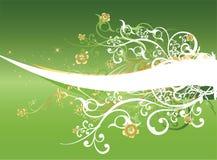 抽象背景用花装饰的绿色漩涡 免版税图库摄影
