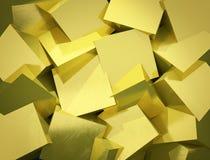 抽象背景由参差不齐的金黄立方体制成 免版税库存照片