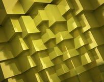 抽象背景由粗糙的金黄立方体制成 免版税库存照片