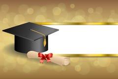 抽象背景米黄教育毕业盖帽文凭红色弓金子镶边框架例证 库存照片
