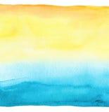 抽象背景蓝色手画水彩 纸织地不很细 免版税库存图片