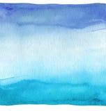 抽象背景蓝色手画水彩 纸织地不很细 库存例证