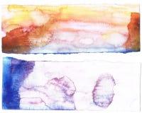 抽象背景蓝色橙色水彩 免版税库存照片