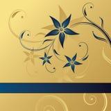 抽象背景蓝色花卉金子 库存图片