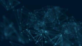 抽象背景被加点的和与焕发和迷离作用的连接线技术概念的4K UHD 股票录像