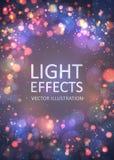 抽象背景被弄脏的五颜六色的复制空间 闪耀的光线影响和bokeh与闪烁微粒 库存图片