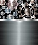 抽象背景金属镀铬物银齿轮 库存图片