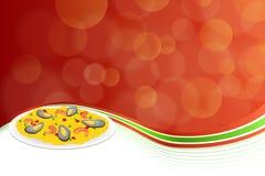 抽象背景食物肉菜饭米豌豆以子弹密击虾淡菜绿色红色框架例证 免版税库存图片