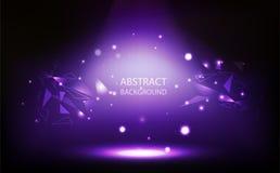 抽象背景,紫罗兰色聚光灯在屋子,栅格墙壁,三角与数字技术传染媒介例证的多角形概念里 向量例证